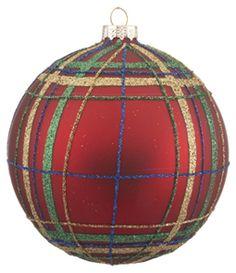 Red and Green Plaid Ball Christmas Ornament Irish Christmas, Tartan Christmas, Christmas Crafts, Christmas Bulbs, Christmas Decorations, Holiday Decor, Homemade Ornaments, Glass Ball, Green