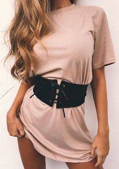 #summer #outfits Blush Tee Dress + Black Corset