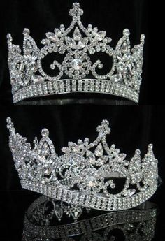 "CONTINENTAL PREMIUM SILVER CROWN TIARA Designed very similar to the larger ""CONTINENTAL STYLE CROWN "", this smaller version is ideal for junior pageants, sweet"