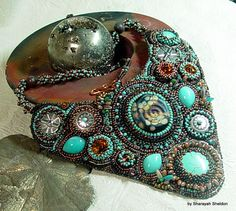 Down To Earth Bead Embroidered Necklace by 4uidzne on Etsy
