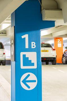 Level identification - Trinity Leeds car park - designed by The Velvet Principle