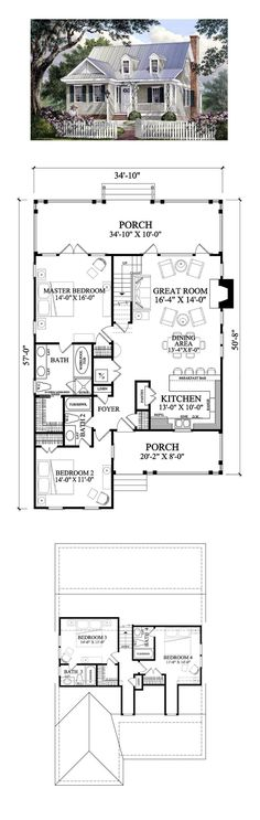 Cape Cod House Plan 86106 | Total Living Area: 1985 sq. ft., 4 bedrooms and 4 bathrooms. #capecodhome