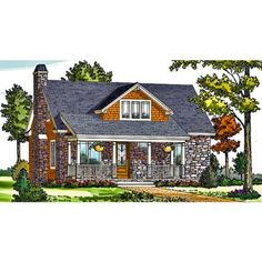Cottage Country Craftsman Farmhouse House Plan like the outside not the floor plan. Craftsman Bungalow House Plans, Craftsman Farmhouse, Basement House Plans, Lake House Plans, Craftsman Bungalows, Small House Plans, Bungalow Renovation, Walkout Basement, Garage House