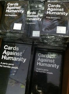 Guess what just arrived! C'mon guess!  Nope, it's the Cards of Humanity decks and first expansion packs!  Why would you even think we would carry what you guessed first... Eew.