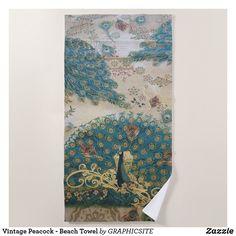 Vintage Peacock - Beach Towel