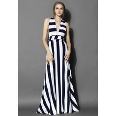 Spotlight Stripes Self-tie Maxi Dress  - Retro, Indie and Unique Fashion