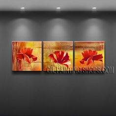 Enchant Modern Abstract Painting Oil Painting On Canvas For Living Room Poppy Flower. This 3 panels canvas wall art is hand painted by Flora.Z, instock - $125. To see more, visit OilPaintingShops.com