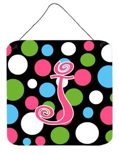 Letter J Initial Monogram - Polkadots and Pink Wall or Door Hanging Prints