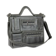 Faded Black Case with Multiple Pockets for 13-Inch Laptop, 'Statement in Weathered Black'