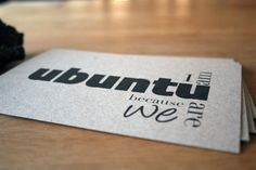 Great interpretation of the theme from  PaperPapelPapier:  http://www.etsy.com/listing/95177794/ubuntu-kraft-postcards-set-of-12