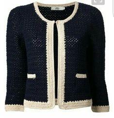 Fabulous Crochet a Little Black Crochet Dress Ideas. Georgeous Crochet a Little Black Crochet Dress Ideas. Gilet Crochet, Crochet Coat, Crochet Jacket, Crochet Cardigan, Crochet Shawl, Crochet Clothes, Cardigan Sweaters, Mode Crochet, Black Crochet Dress