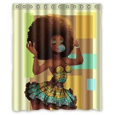 Custom Waterproof African Woman Bathroom Polyester Fabric Shower Curtain 60x72