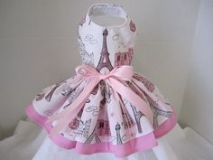 Dog Dress  XS   Paris  By Nina's Couture Closet. $30.00, via Etsy.
