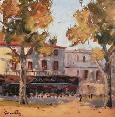 LES PLATANES, THE PLANE TREES 14 x OIL. This was painted quickly as the sun was going down, the tall plane trees casting their shadows on this quiet café scene. Plane Tree, Trees, Scene, Painting, France, Oil, Paintings, Tree Structure, Painting Art