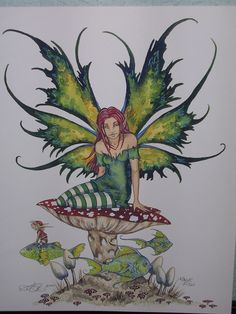 This artwork by Amy Brown is OUT OF PRINT. Print date It measures 8 x new condition, package and sealed. Amy Brown Fairies, Elves And Fairies, Fairy Paintings, Fairy Tattoo Designs, Fairy Pictures, Unicorns And Mermaids, Butterfly Fairy, Beautiful Fairies, Brown Art