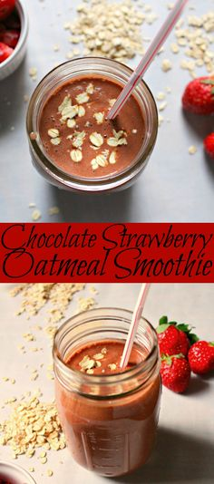 A perfectly light yet filling chocolate strawberry oatmeal smoothie to make for breakfast or lunch on the go! Made with fresh ingredients it is easy to make
