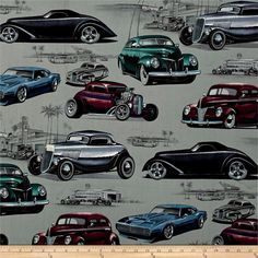 Alexander Henry Skullduggery Chopped + Channeled Vintage Grey from @fabricdotcom  From the DeLeon Group for Alexander Henry, this cotton print fabric features a classic car show at an LA diner for an instant retro vibe. Perfect for quilting, apparel and home decor accents. Colors include black, white, shades of grey, purple, violet, blue and deep turquoise.
