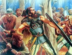 Germanic Warriors, AD 9. In this illustration the war-band has launched another assault against the Roman column which by now is under constant attack. Varus has been led deep into an ambush which will claim the lives of three legions and that of his own.