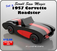 Great Resources For Woodworking Project Plans And Designs Scroll Saw Magic 1957 Corvette Roadster Wood Toy Plan Set Woodworking Plans, Woodworking Projects, Woodworking Shop, In Pantyhose, Cool Playing Cards, Wooden Toy Cars, Magic Sets, Wood Toys Plans, Pinewood Derby Cars