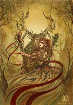 """art by natasailincic  """"Beltane"""" ~ depicting the May Queen and the Horned God.Prints of this version without the knotwork frame and the writings are now available!  The work in progress of the painting and the knotwork frame + initial sketches and videos are on..."""