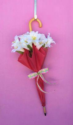 Pink Umbrella Spring Door Hanger by AHolidayShoppe