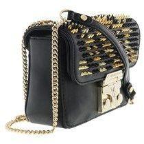 Versace Ee1vqbbba E899 Square Shoulder Bag Jeans Embossed Plaque-dimensions: Black Shoulder Bag.
