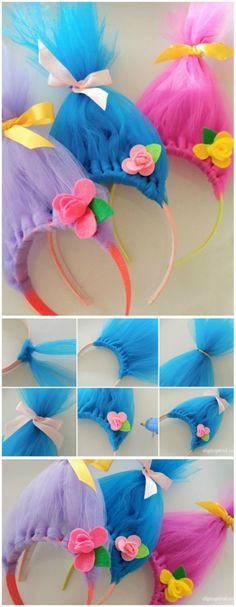 Video. How to make these fun troll hair headbands with pretty felt flowers.