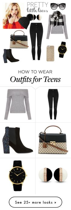 """""""Hannah- PLL"""" by lilli-everingham on Polyvore featuring River Island, New Look, Alexander McQueen, Barneys New York, Michael Kors, Black, Dune and Gucci Pretty Littleliars, Pll, Barneys New York, Teenagers, Dune, River Island, New Look, Going Out, Alexander Mcqueen"""