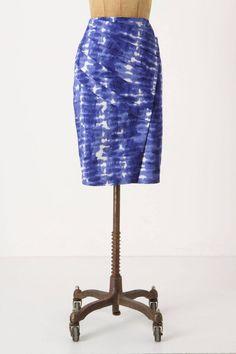 Anthropologie Araca Pencil Skirt Size 4, Blue Tie-Dye Asymmetrical By Eva Franco #EvaFranco #StraightPencil