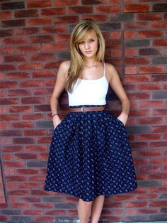 navy high waisted skirt + thin brown belt + simple white top