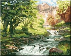 Beautiful Paint by Number Kit:By The Trout Brook (50cm x 40cm)DIY&pre stretched