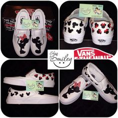 Disney Mickey Mouse and Minnie Silhouette hand painted toms