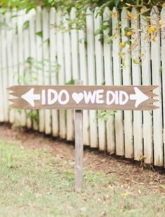 adorable outdoor wedding directions sign.