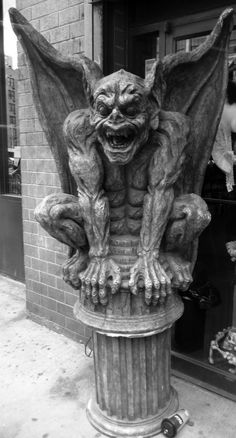 gargoyle in front of an awesome goth- renaissance store