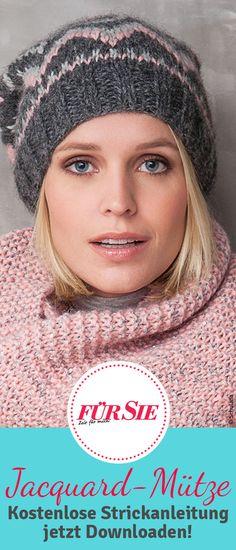 Diese trendige Mütze im Jacquardmuster ist der ideale Begleiter für kalte Wintertage. Wir haben die kostenlose Strickanleitung, damit ihr die Wintermütze ganz einfach selber stricken könnt.