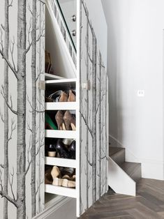 Nicola Hicks Designs's Photos, under stair shoe storage rack, gorgeous birch tree wallpaper Shoe Storage Ladder, Shoe Storage Under Stairs, Shoe Storage Rack, Shoe Rack, Down Comforter, Comforter Sets, Types Of Flooring, Vinyl Flooring, Birch Tree Wallpaper