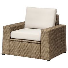 IKEA SOLLERÖN Armchair, outdoor Brown/frösön/duvholmen beige By combining different seating sections you can create a sofa in a shape and size that perfectly suits your outdoor space.