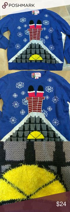 🎄 NWT Christmas Holiday Sweater - Unisex 🎄 The listed sweater is a unisex sweater, so, please refer to measurements on pics for sizing. Sweater is New With Tag but it is a partial tag (please see pic). Fabric on the yellow part of the sweater is made with a fluffy furry effect and Santa's boots and pants are made with a Terry cloth effect. Sweaters