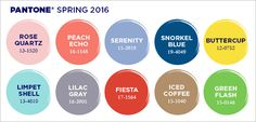 Colors to Watch for Spring 2016 - Liking Fiesta, Lilac Gray, and Snorkel Blue. Green Flash (in accents only) for me