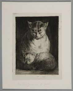 "Jean-Jacques de Boissieu, ""Cat Sitting with a Kitten,"" 1803. Etching. Harvard Art Museums/Fogg Museum, Gift of Belinda L. Randall from the collection of John Witt Randall, R4089."