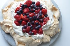 A beautiful way to use the last of the summer berries with a Pavloba.