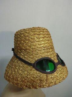 "60s Novelty Straw Beach Hat w/ Built In ""Sunglasses"""