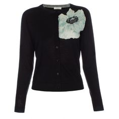 Paul Smith Women's Black 'Anemone Floral' Placement Wool Cardigan ($155) ❤ liked on Polyvore featuring tops, cardigans, floral print cardigan, collar top, floral cardigan, collar cardigan and print top