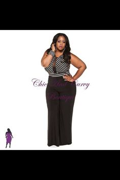 New Plus Size Jumpsuit White Stripe with Black Background available at www.chicandcurvy.com