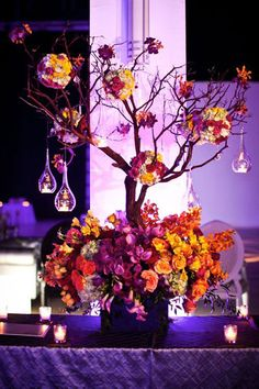 Fall Wedding Ideas - Fall Wedding Decor Tablescape and centerpieces! Purple Wedding, Our Wedding, Wedding Flowers, Dream Wedding, Wedding Blog, Wedding Bouquets, Wedding List, Fall Flowers, Orange Flowers