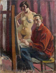 Jean puy (1876-1960), le peintre et son modèle (ginette renaud), circa 1924, huile sur toile, signée en bas à gauche, 65 x 50 cm, provenance : , - collection jean deshairs , - galerie zack, 1962 , - collection du petit palais, genève, expositions:, - galerie durand-ruel, 1965, paris, no 31 , - « jean puy », musée joseph déchelette, 1976, roanne, no 13 , - « jean puy », petit palais, 1977, genève, no 42, bibliographie : , - paul gay, jean puy, lyon, braunet cie, reproduction no 42 (l'artiste…