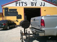 We make custom made bbq pits, grills, smokers, and trailers in all shapes and sizes. Pits by JJ in one of the best hand made bbq pit manufacturers in the USA. Fire Cooking, Outdoor Cooking, Outdoor Kitchens, Fire Pit Bbq, Fire Pits, Barbecue Grill, Grilling, Bar B Que Grills, Custom Smokers