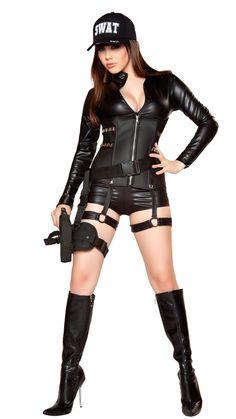 3eaae5587c2d Sexy SWAT Halloween Costume, 2 pcs Deguisement Femme, Femme Sexy,  Maquillage Halloween,