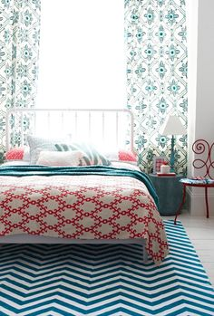 Red Blue Turquoise Bedroom Mix Of Patterns