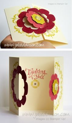 Gatefold card w/inside sentiment. Fun Fold Cards, 3d Cards, Cool Cards, Folded Cards, Stampin Up Cards, Kirigami, Daydream Medallions, Scrapbook Cards, Scrapbooking